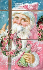 Vintage Victorian Shabby Father Christmas Pink Santa Waterslide Decals Chr230