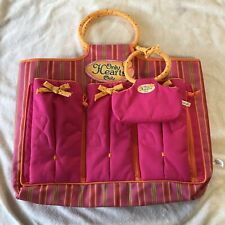 Only Hearts Club Tote Bag Pink Stripe Doll Case Carrier With Mini Purse Set