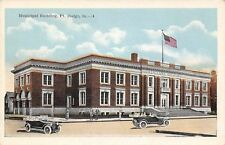 Fort Dodge Iowa~Municipal Building~Men on Street~House Behind~Vintage Cars~1916