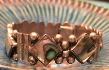 Diamond Mother Of Pearl Link Bracelet Mexico Sterling Silver Tribal Art Caviar