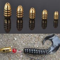 5Pcs Fishing Hook Bait Sinkers Bullet Shape Copper Kit Tackle 1.8/3.5/5/7/10g