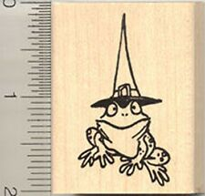 Frog Witch Rubber Stamp halloween C7406 Toad Wood Mount