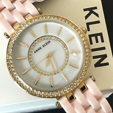 Anne Klein AK2620 Women's Blush Pink Gold Tone Mother of Pearl Crystal Watch NWT