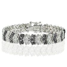 Silver Tone 1ct Treated Black & White Diamond Miracle Set Chevron Bracelet Brass