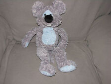 "AMELA MOUSE STUFFED PLUSH BEAN BAG TOY GRAY BLUE CURLY FUR TEETH 11"" 18"""