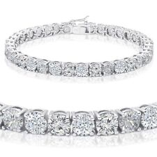 Brilliant Round Simulated Diamond Sterling White Gold Tennis Bracelet - 4mm