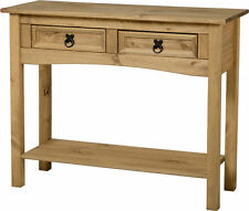 Corona Console Hall Side Table with Two Drawers & Shelf Light Waxed Solid Pine