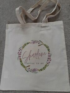Personalised Bridesmaid Bag Canvas Bridal Custom Wedding Tote Bride Rose Wreath