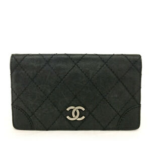 CHANEL Quilted Matelasse CC Logo Black Caviar Skin Long Bifold Wallet /E0737