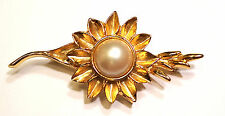 Center Textured Gold Tone Petals BroochPin Sunflower On Stem Faux Pearl Cabochon
