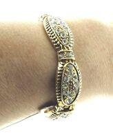Crystal Gold Tone Hinged Bangle Bracelet NWT