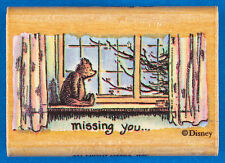 Winnie the Pooh MISSING YOU Rubber Stamp Stuffed Bear Sitting in Window - Disney
