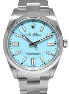 NEW Rolex Oyster Perpetual Steel Turquoise Dial 41mm Watch Box/Papers '20 124300