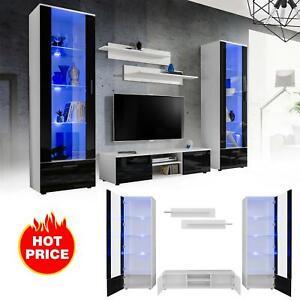 Salon moderne Ensemble meuble armoire TV Unité de Espace LED Twins
