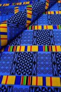 Blue African Fabric By The Yard Kente Ankara Print Quilt Craft Mask Headwrap DIY