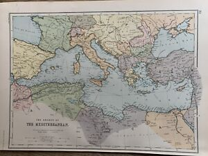 1891 MEDITERRANEAN SEA ANTIQUE COLOUR MAP BY W.G. BLACKIE 129 YEARS OLD
