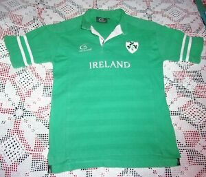 Vintage LIVE FOR RUGBY IRELAND Boys Size 9-11 Green and White 100% Cotton Jersey