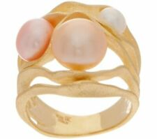Honora Cultured Pearl Multi-color 14k Yellow Gold On Sterling Swirl Ring SZ8 QVC