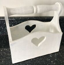 Handmade Traditional Wooden  Trug painted White shabby chic