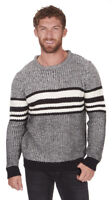 Mens Crew Neck Jumper Sweater Pullover Top Striped Long Sleeve Knitwear Knitted