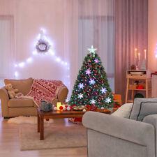 COSTWAY Sapin de Noël Arbre de Noël Artificiel avec Flocon de Neige Lumières LED