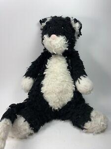 "Jellycat Bashful Cat Black White Tuxedo Plush Stuffed Animal Medium 12"""