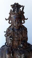 Chinese Gold Gilt Bronze Buddha Guanyin Seated On Elephant Yuan or Ming Dynasty