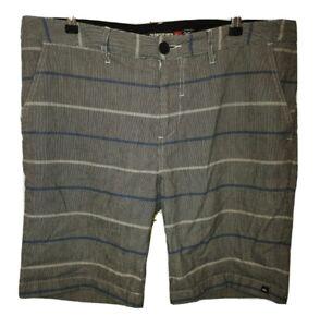 Quiksilver W36 Chino Style Shorts Striped Surf Beach Skater Kim WK554 Black Blue