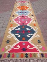 "Anatolian Kilim Runner Rug Hallway Long Carpet Corridor Wool Stairs Rug 31""x121"""