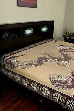 Handmade Cotton Asian Dragon Tapestry Tablecloth Coverlet Bedspread Twin 70x104