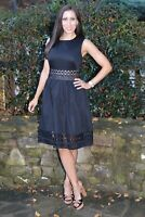 Ted Baker Lace Dayzey Embroidery Flare Pleat Midi Navy Cruise Dress UK 10 38