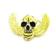Angel Wings Gold Skull Skeleton Biker Tattoo Motorcycle Metal Belt Buckle