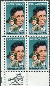 GREAT AMERICAN PERFORMER - John McCormack - 1984 US 20c Scott 2090 MNH-OG (702b)