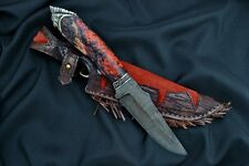 *INDIAN CHIEF* UNIQUE DAMASCUS STEEL 500 LAYER CUSTOM HANDMADE KNIFE HYBRID WOOD