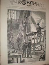 Scena studio del pittore HAYMARKET Theatre di Londra 1873 Old print