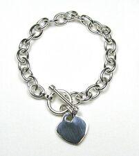 """Heart Charm Toggle Link Solid Sterling Silver Bracelet (Med 7"""")"""