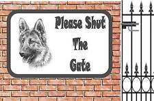 German Shepherd  Shut The Gate Beware of the Dog  Design Metal Door Sign