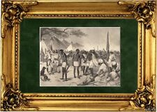Antique matted print Kanyenye Zambia African slave trade Africa 1878 slavery