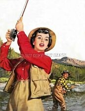 ANTIQUE REPRO 8X10 PHOTOGRAPH PRINT WOMAN FLYFISHING ROD REEL VEST