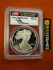 2004 W PROOF SILVER EAGLE PCGS PR70 DCAM RARE FLAG MERCANTI SIGNED LABEL