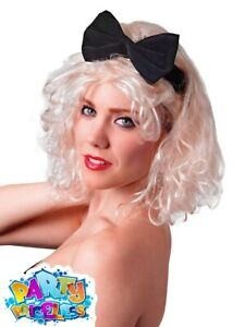Adult Madonna 1980s Pop Queen Wig with Bow Ladies Fancy Dress Costume Accessory