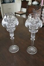 Waterford crystal hurricane candle sticks, a pair (2)