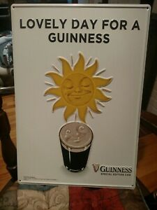 "Lovely Day For A Guinness Tin Wall Tacker Sign. 20 X 14"". New"
