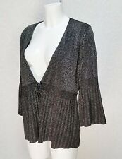 BM Collection metallic Silver black Knitted crepe Bell sleeve tie Cardigan sz 16