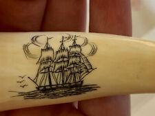 New ListingVintage Sperm Whale Tooth Faux Replica Scrimshaw Ship Corkscrew