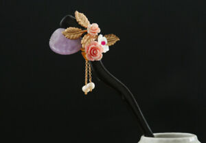 D13 Hair Pin From Sandalwood with Roses And Amethyst