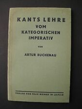 Buchenau Kant lección del imperativo categórico 1923 Kant ética