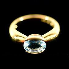 18 Karat Yellow Gold and Blue Topaz Ladies Ring, Size 6.75