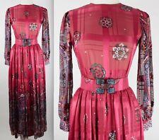 Vintage 1970s sz 6 (fits 4) Oscar de la Renta long sleeve silk gown red
