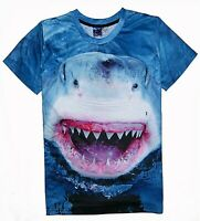 Great White Shark T-Shirt ( all over funny scary animal print printed tee )